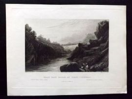 After David Cox 1846 Antique Print. Grass Rope Bridge at Teree, Gurwall, India